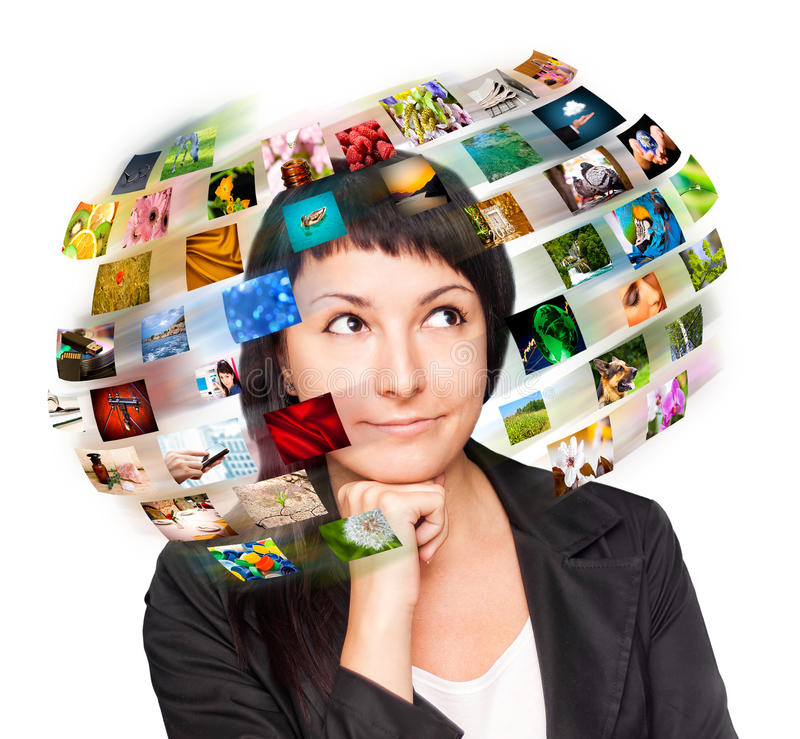 A technology woman has images around his head. Use it for a communication or tv concept stock images