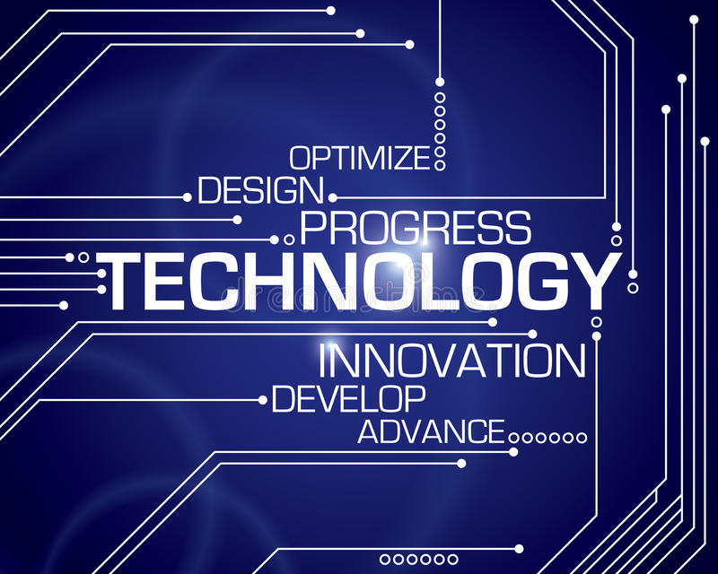 Technology Word Background. A technology word background with circuit board lines