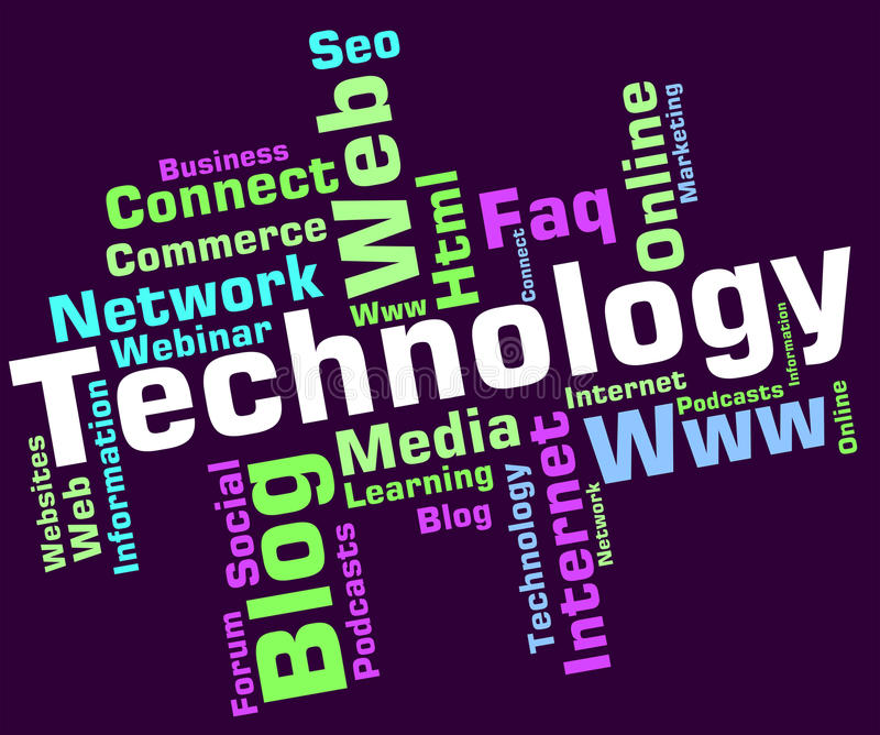 Technology Word Shows Digital Technologies And High-Tech. Technology Word Indicating Electronic Words And Hi-Tech vector illustration