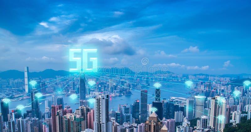 technologya de alta velocidad de Internet de la comunicación de la red 5g fotografía de archivo libre de regalías