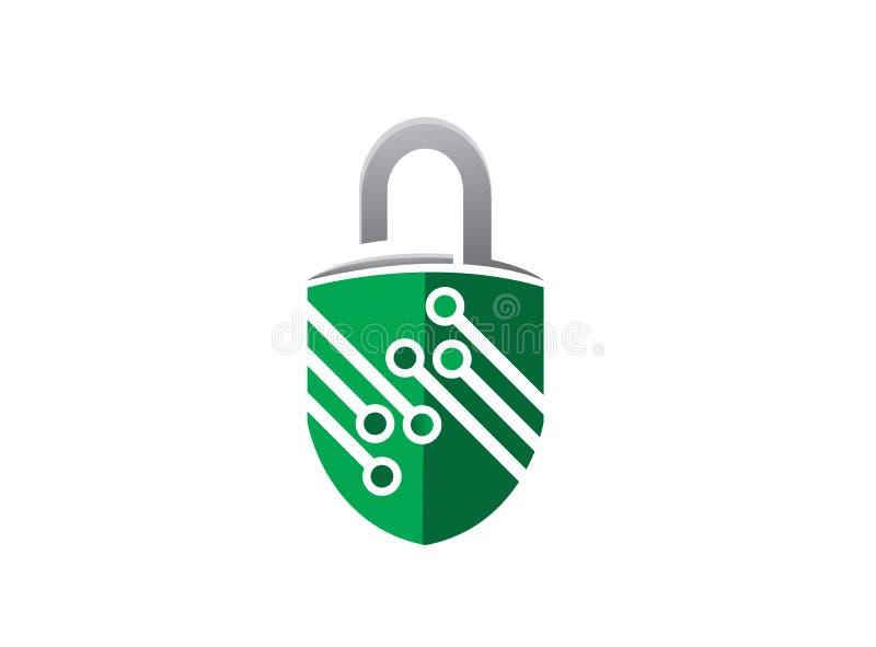 Technolory symbolvakt för lås för logodesignillustratören, säkerhetstechsymbol royaltyfri illustrationer