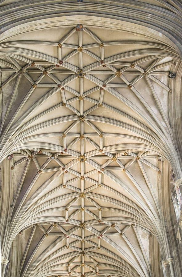 Techo adornado de la catedral de Cantorbery imágenes de archivo libres de regalías