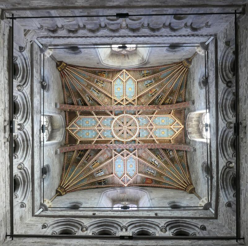 Techo de la torre central de la catedral de St Davids imagenes de archivo