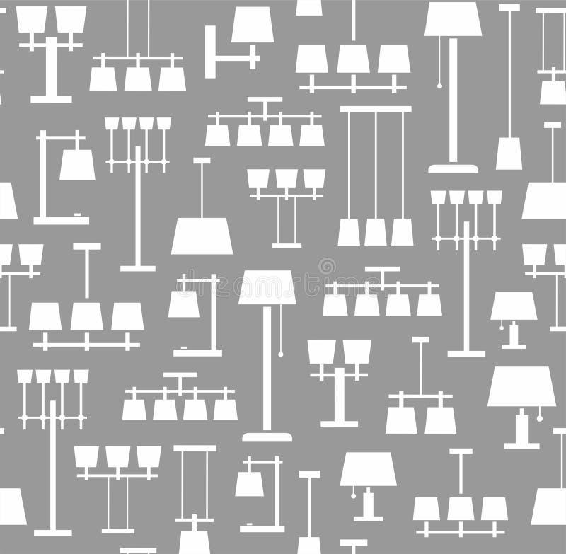 Techo de las lámparas, tabla, piso, fondo, inconsútil, gris, monocromático ilustración del vector