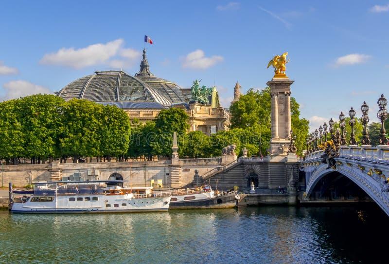 Techo del Gran Palacio y barcos en el río Sena fotografía de archivo libre de regalías