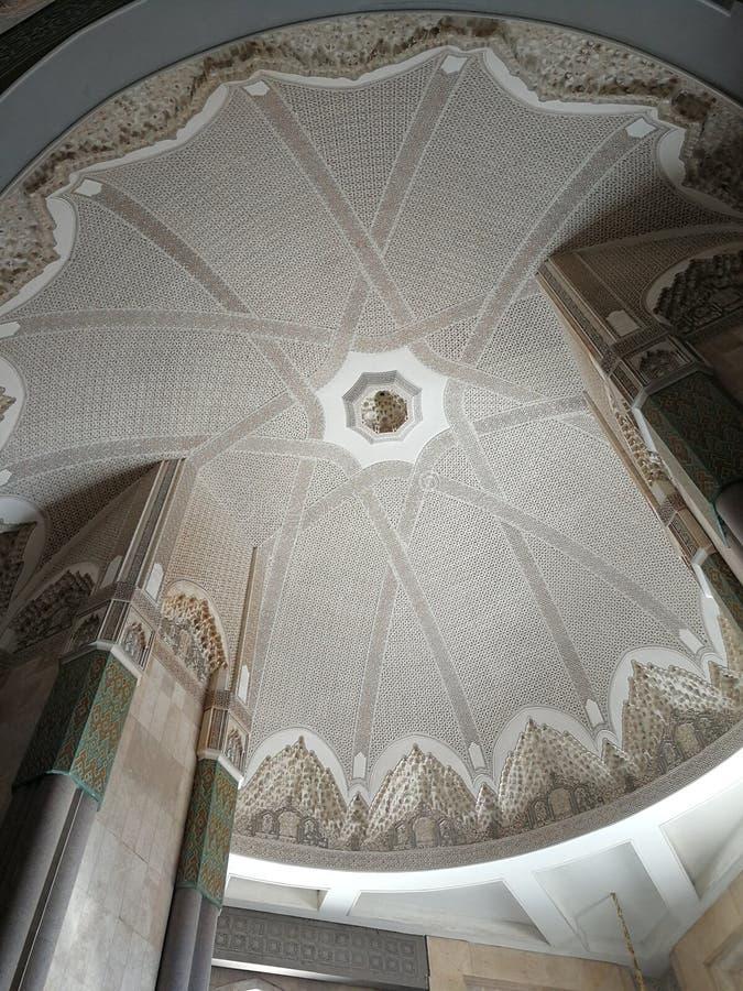 Techo detallado en la mezquita de Casablanca, Marruecos fotos de archivo libres de regalías