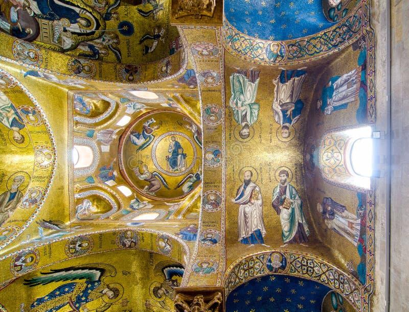 Techo en la iglesia Martorana Palermo, Sicilia, Italia fotos de archivo