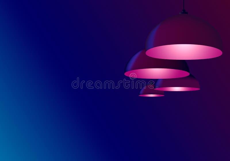 Techo marrón cuatro que enciende billares o el café Lámparas que cuelgan y brillar color rosado oscuro frío Bulbos pendientes del stock de ilustración