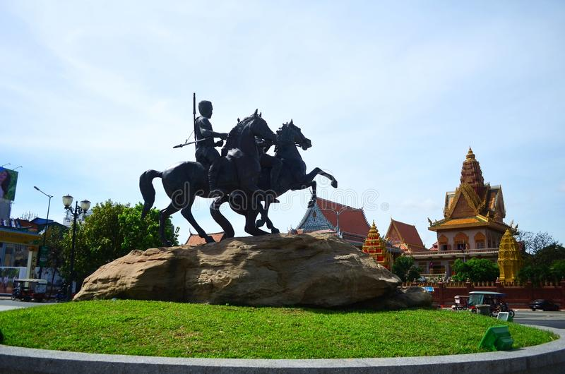 Techo Meas and Techo Yot statue at Sisowath Quay. Phnom Penh Cambodia royalty free stock photography