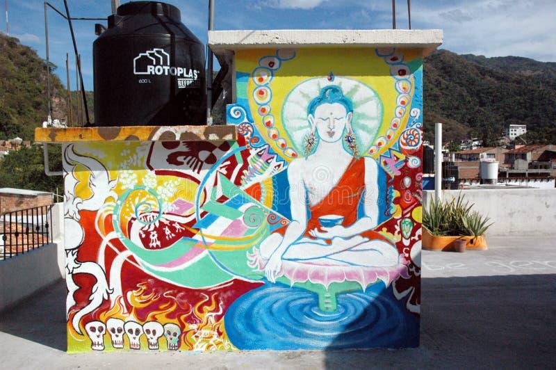 Techo mexicano-tibetano de Buda en Puerto Vallarta, Jalisco, México fotografía de archivo
