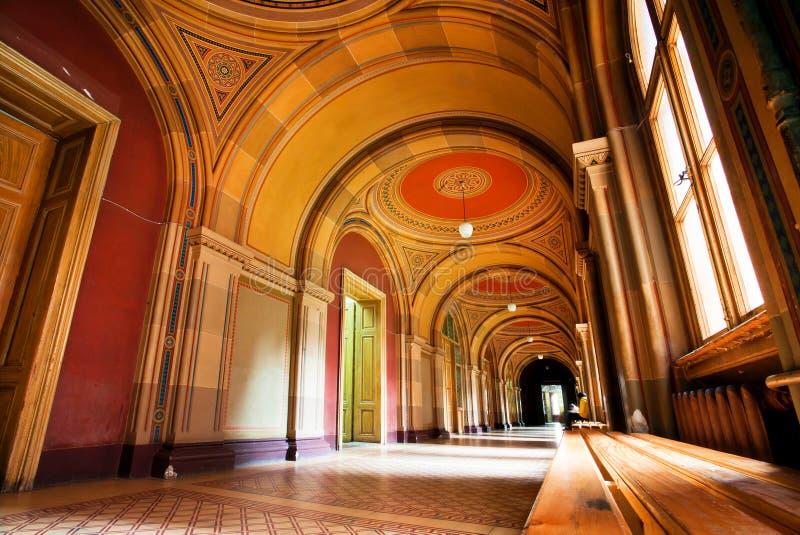 Techo pintado en los pasillos de la universidad imágenes de archivo libres de regalías