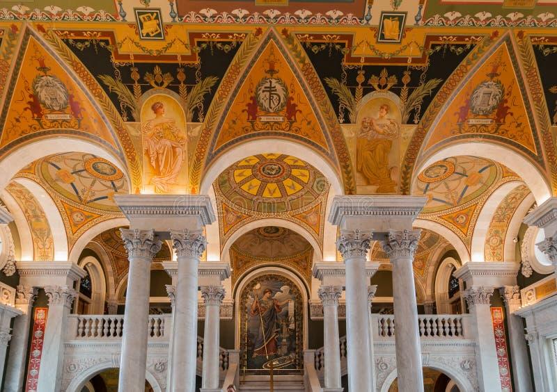 Techo Washington de la biblioteca del congreso foto de archivo libre de regalías