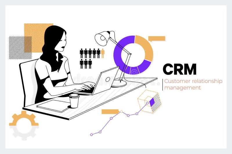 Techology f?r internet f?r aff?r f?r ledning f?r CRM kundf?rh?llande begrepp Idérik kvinna som arbetar med datoren i royaltyfri illustrationer