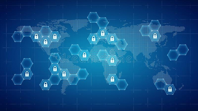 Techology world map and padlocks icons -Technology security concept. Background. 3d rendering vector illustration