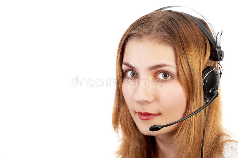 Techsupport girl on the phone royalty free stock photo