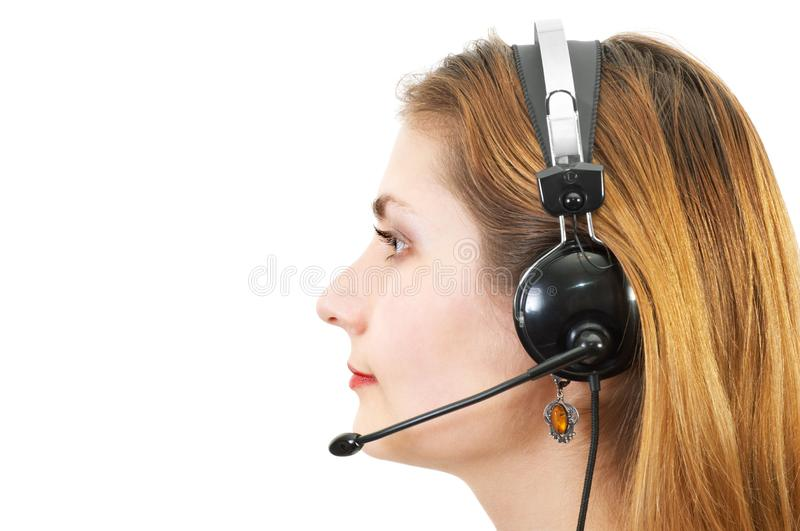 Techsupport girl, sideview stock photo