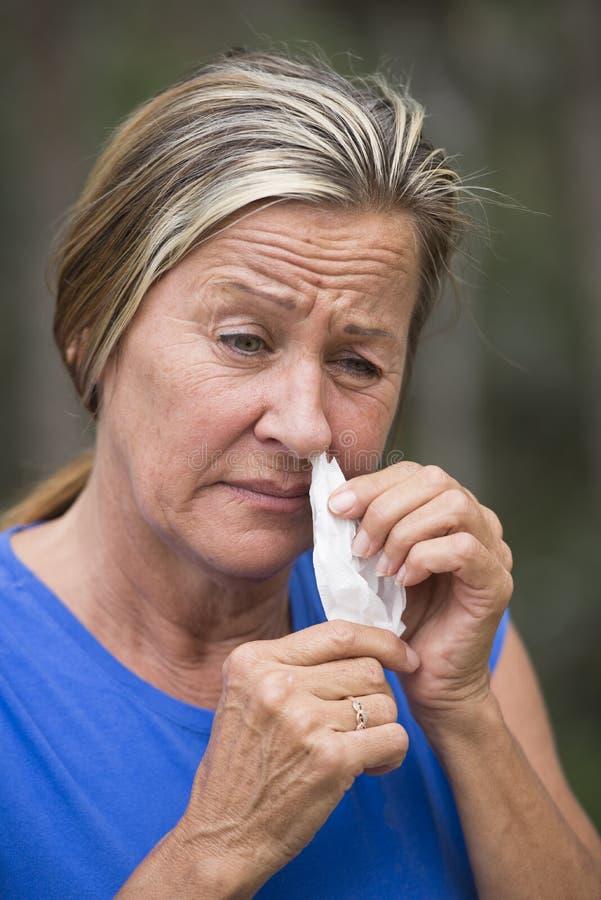Tecido da mulher na alergia de sofrimento do hayfever do nariz imagem de stock royalty free