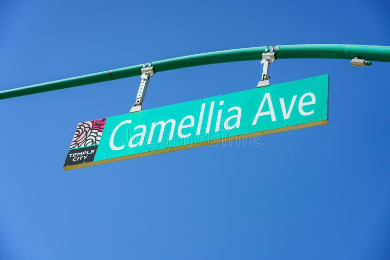 Tecken av Camellia Ave royaltyfria bilder