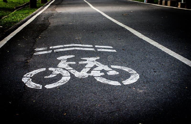 Tecken av cykelgränden arkivfoto