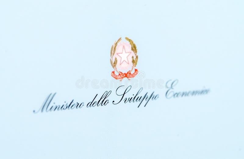 Tecken av det italienska departementet av ekonomisk utveckling royaltyfri fotografi