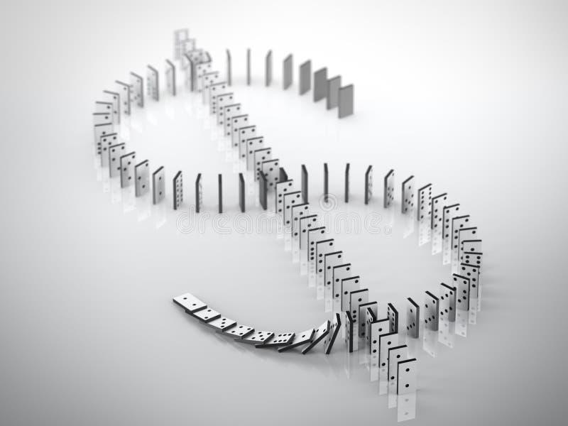 Tecken av dollaren från domino stock illustrationer