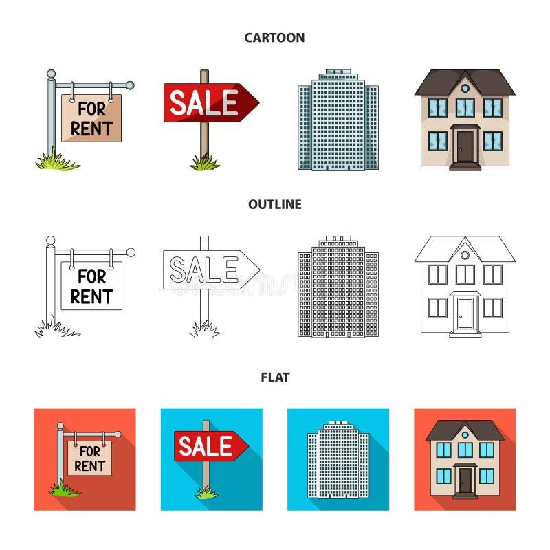 Tecken av försäljningen och hyra, en skyskrapa, enberättelse stuga Fastställda samlingssymboler för fastighetsmäklare i tecknade  royaltyfri illustrationer