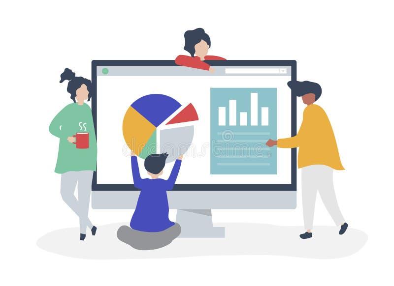 Tecken av folk som analyserar graf- och diagramillustrationen stock illustrationer