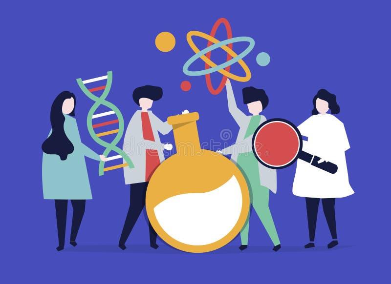 Tecken av forskare som rymmer kemisymbolsillustrationen vektor illustrationer