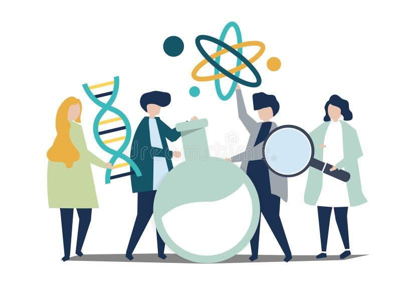 Tecken av forskare som rymmer kemisymbolsillustrationen royaltyfri illustrationer
