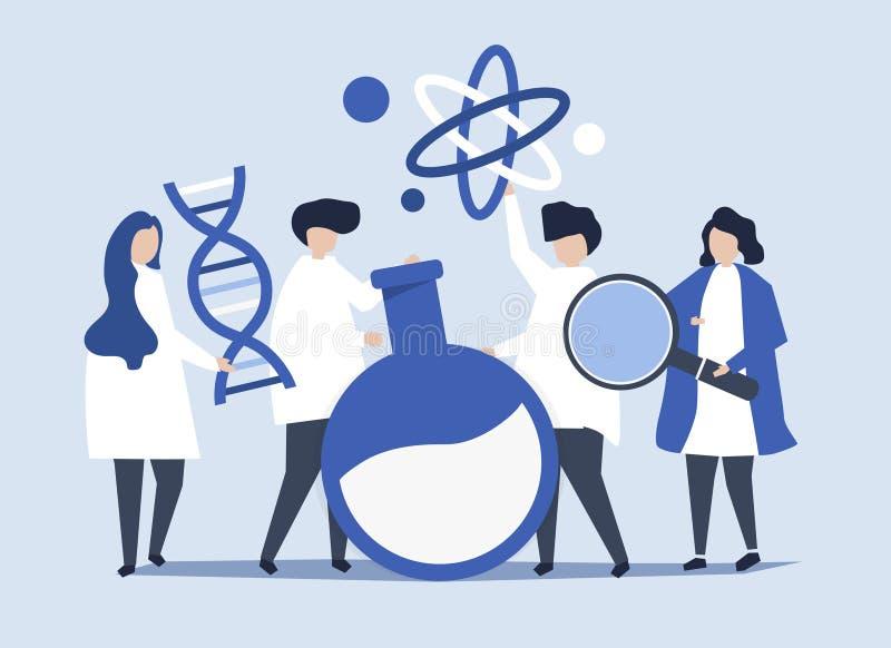 Tecken av forskare som rymmer kemisymbolsillustrationen stock illustrationer