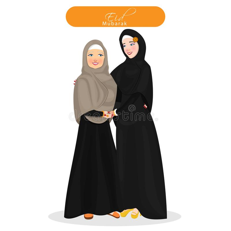 Tecken av gladlynta muslimska kvinnor som kramar sig och b?r den islamiska traditionella torkduken f?r Eid Mubarak vektor illustrationer