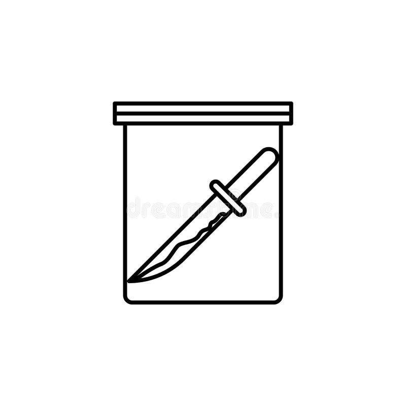 tecken av knivsymbolen Beståndsdel av brott- och bestraffningsymbolen för mobila begrepps- och rengöringsdukapps Den tunna linjen vektor illustrationer