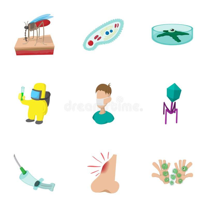 Tecken av malariasymboler ställde in, tecknad filmstil vektor illustrationer