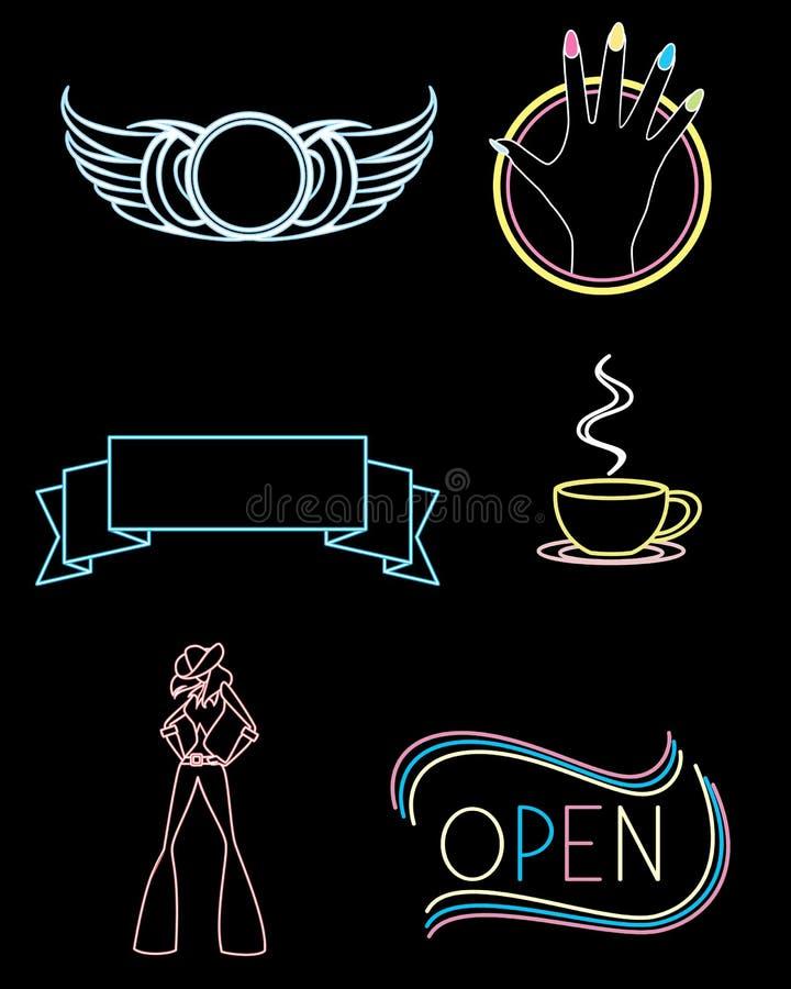 Tecken av olika institutioner stock illustrationer