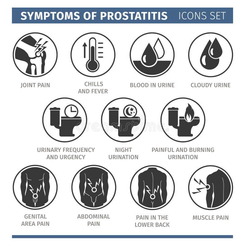 Tecken av prostatitis infographic vektor för element för svart ändringssymbolslever medicinsk för skydd white enkelt royaltyfri illustrationer