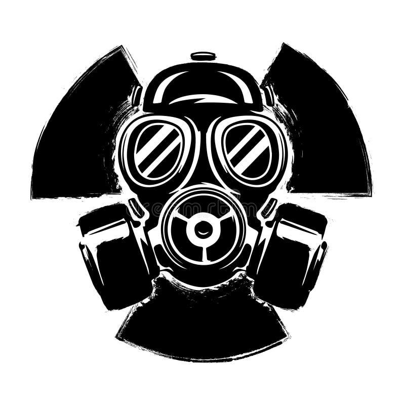Tecken av radioaktivitet med gasmasken: begreppet av förorening och fara Illustration för gasmaskgrungevektor radioaktivt tecken royaltyfri illustrationer