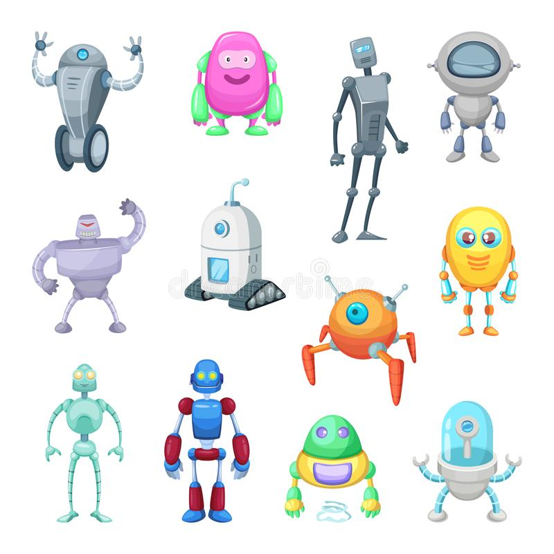 Tecken av roliga robotar i tecknad filmstil Vektormaskotuppsättning av androider och astronaut stock illustrationer