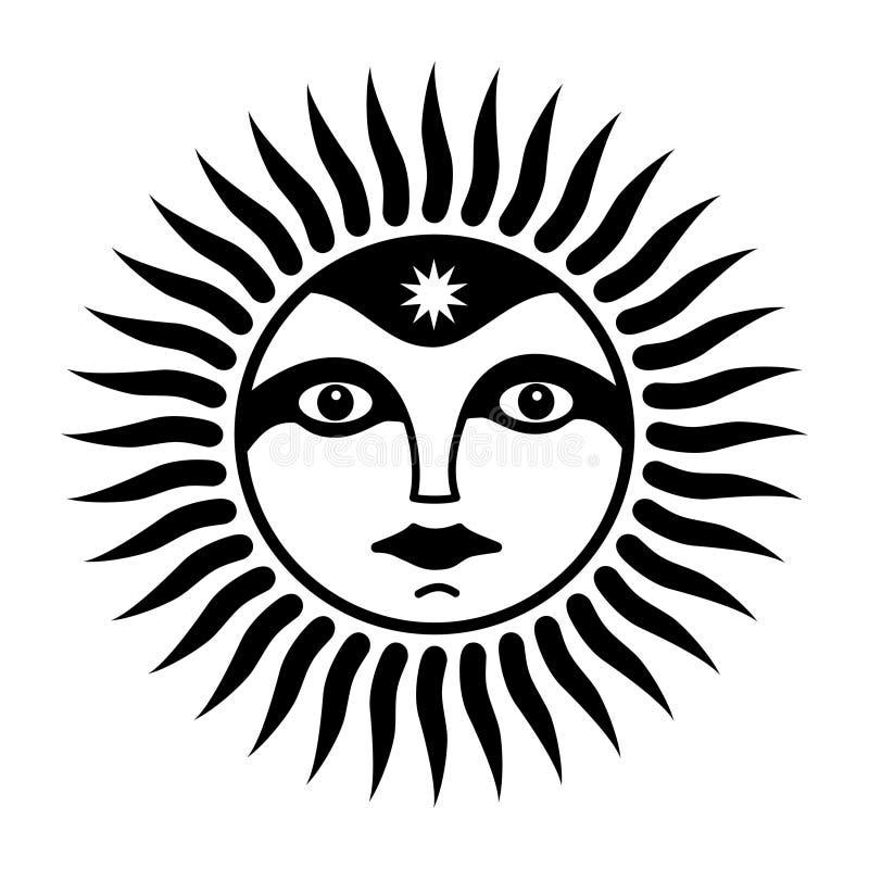 Tecken av solen med en framsida av mannen Anden av solen Symboliskt magiskt symbol Vektordiagramkonst royaltyfri illustrationer