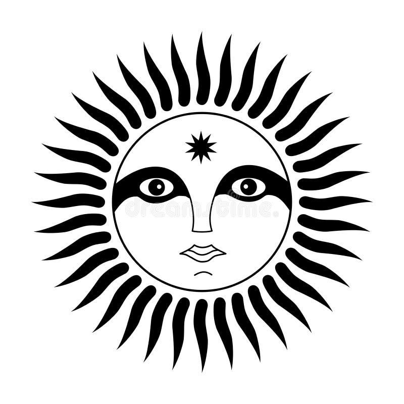 Tecken av solen med en framsida av mannen Anden av solen Symboliskt magiskt symbol Vektordiagramkonst vektor illustrationer