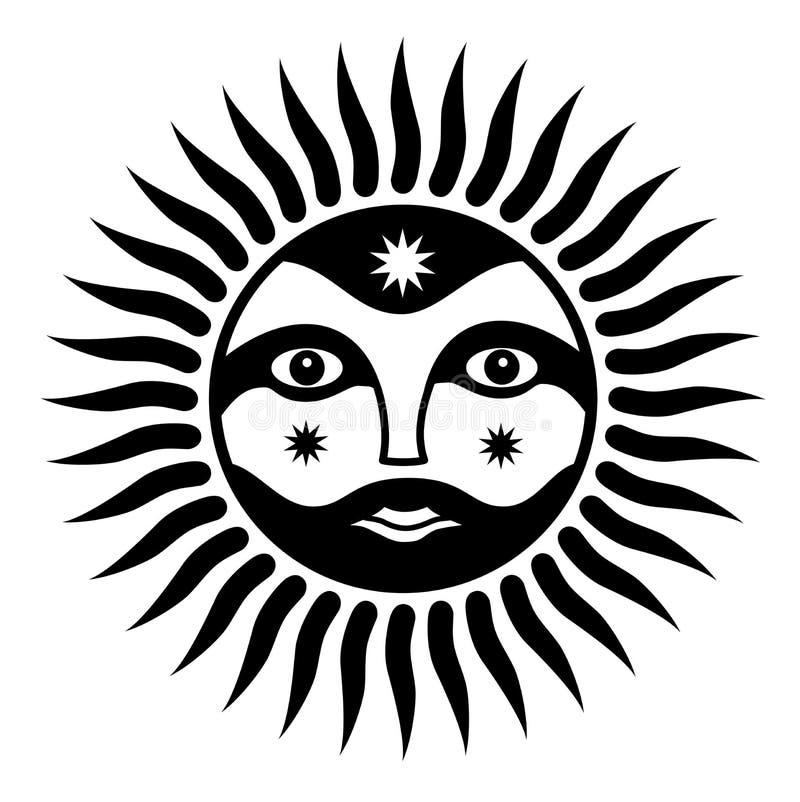Tecken av solen med en mans framsida Anden av solen Symboliskt magiskt symbol vektor illustrationer