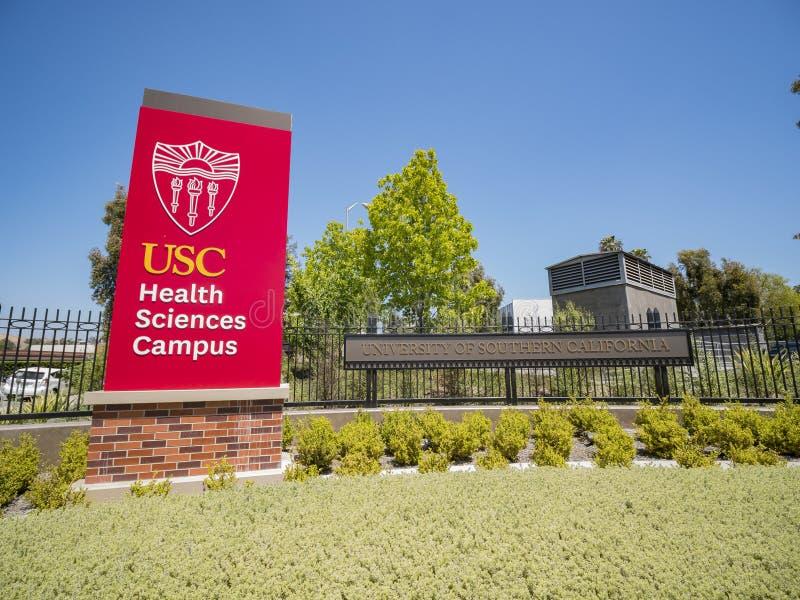Tecken av universitetet av sydliga Kalifornien vård- vetenskaper Ca arkivfoton