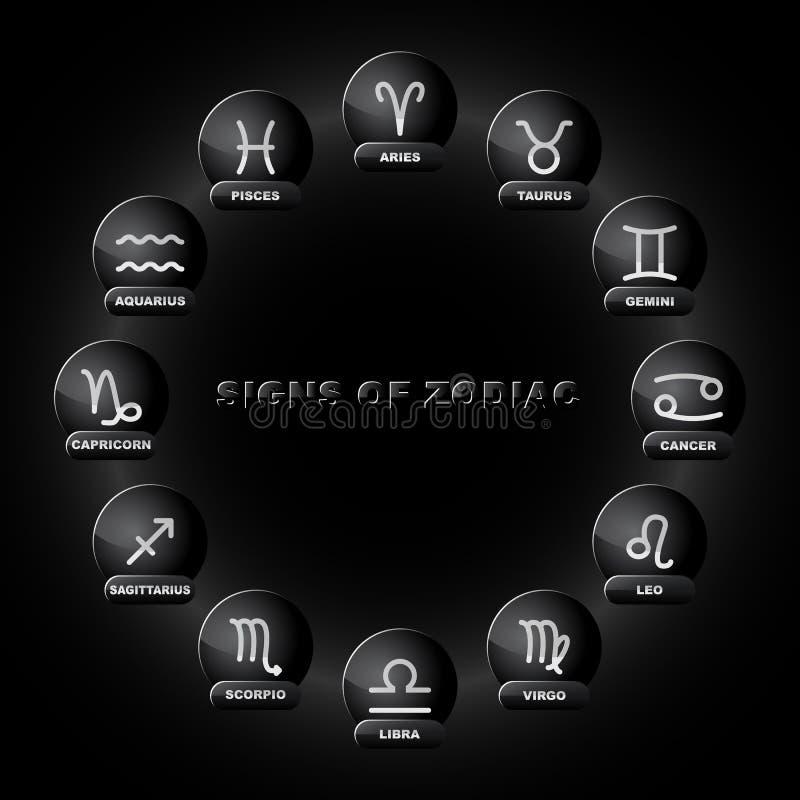 Tecken av zodiak stock illustrationer