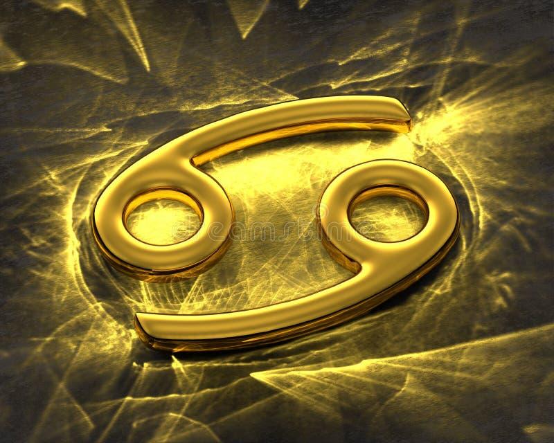Tecken av zodiaken i guld med caustics - cancer royaltyfri illustrationer