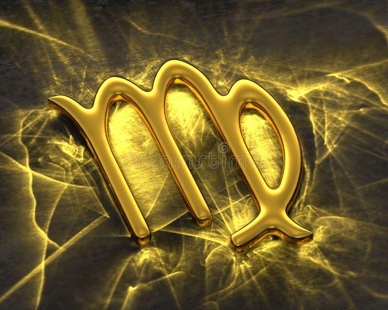 Tecken av zodiaken i guld med caustics - Jungfru stock illustrationer