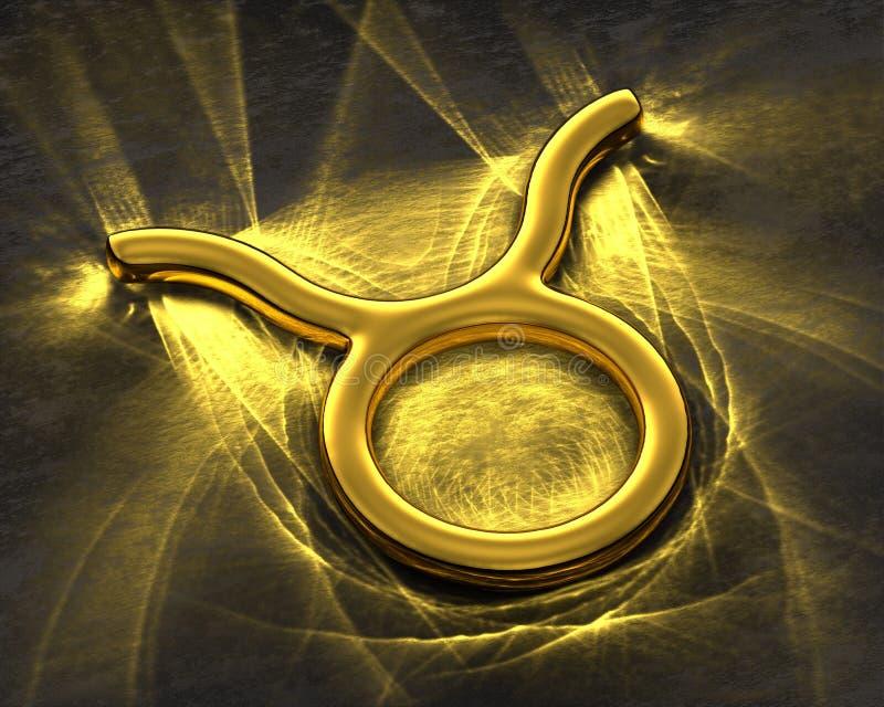 Tecken av zodiaken i guld med caustics - Oxen royaltyfri illustrationer