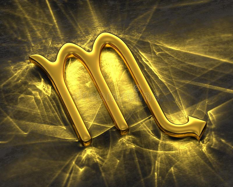 Tecken av zodiaken i guld med caustics - Skorpion vektor illustrationer