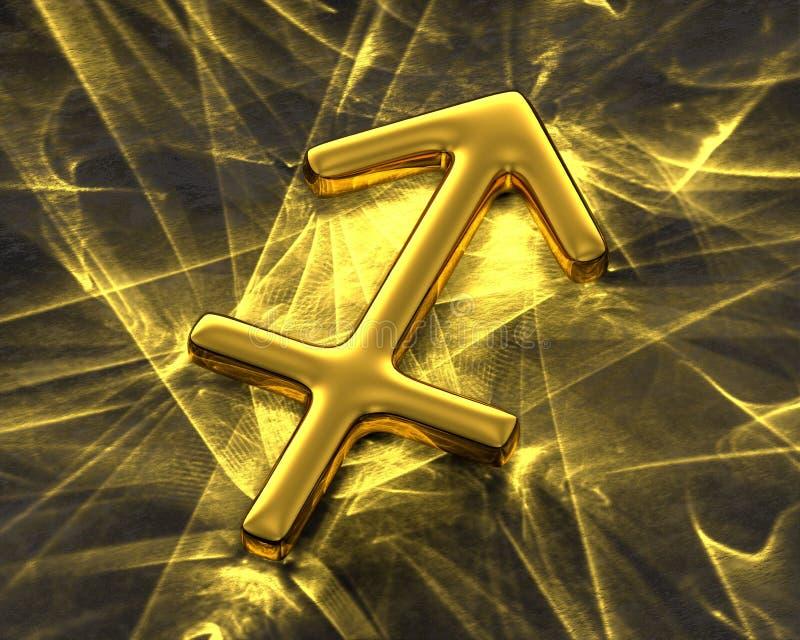 Tecken av zodiaken i guld med caustics - Skytten royaltyfri illustrationer