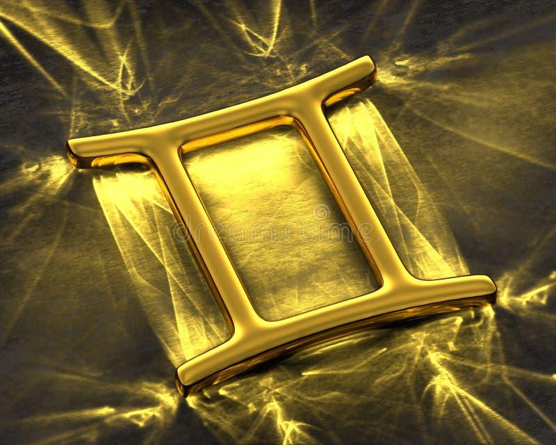 Tecken av zodiaken i guld med caustics - Tvillingarna royaltyfri illustrationer