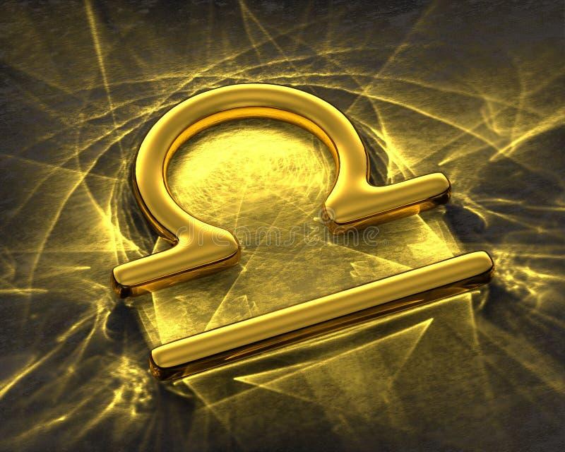 Tecken av zodiaken i guld med caustics - Våg stock illustrationer