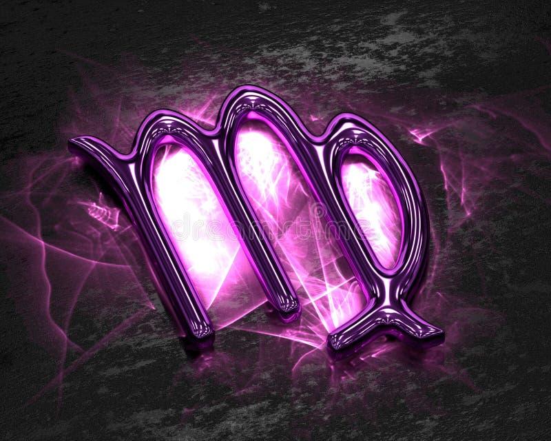 Tecken av zodiaken i rosa färgmetall med caustics - Jungfru vektor illustrationer